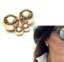 SUPERB 9ct GOLD TONE PLATED DOUBLE PEARL SHINY STUDS BALL EARRINGS Valentine UK