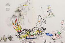 SAUL STEINBERG - CRASH & BURN - ORIGINAL LITHOGRAPH - 1973 - FREE SHIP IN US !!!
