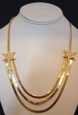 Vintage KIRKS FOLLY Necklace Gold Herringbone Chain Crystal Stars ULTRA RARE kfb