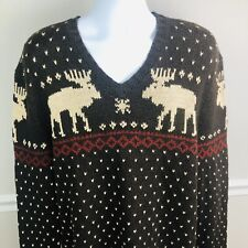 Polo Ralph Lauren Moose Theme Hand Knit Merino Wool V-neck Sweater Size XXL