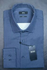 Hugo Boss Men's Jenno Slim Fit White Spotted Navy Cotton Dress Shirt 41 16