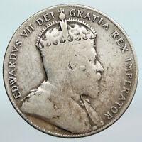 1909 CANADA Newfoundland Antique Silver 50 Cents Coin UK King Edward VII i90270