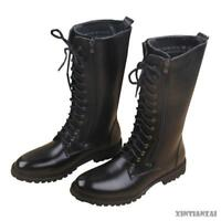 Military Mens Combat Leather Knee High Boots Lace Up Black Riding Boots Miltary