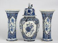 SET Blue  white pottery Delft  Mills Landscape Vases set marked  BOCH