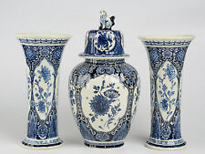 SET Blue - white pottery Delft  Mills Landscape Vases set marked made by BOCH