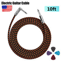 "10 ft Electric Guitar Cable 1/4"" Male Right Angle Straight Instrument Tweed Cord"