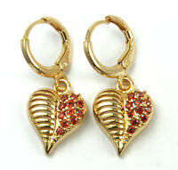 Women's 18 Carat Gold Filled Red Cubic Zircon Drop Huggie Earrings Jewellery