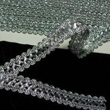 "Antique Vtg Silver Metal Trim Lace Metallic Braid Ribbon 3/4"" wide Lampshade"