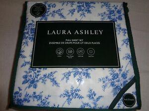 Laura Ashley FULL Sheet set FEDONIA BLUE Floral -  heavyweight Cotton Flannel