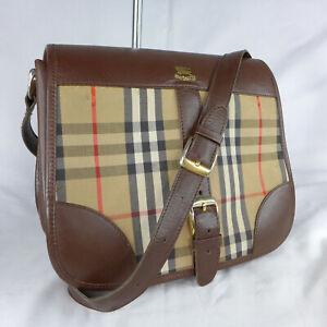 Authentic Vintage Burberry Haymarket Small Messenger Saddle Shoulder Bag VGC