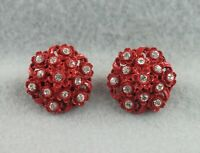 Bright Rhinestones in Dark Red Enamel on Molded Celluloid Flower Clip Earrings