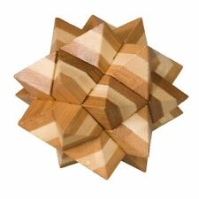 """Bambou-Puzzle """"Avec motif étoiles"""" IQ-Test Jeu de réflexion Bois"""