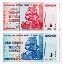 Set of 2 diff. Zimbabwe 100 and 20 Trillion Dollars P-91 and 89 2008 AU- Unc.