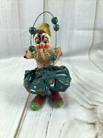 "Vintage Handmade 6"" Paper Mache Juggling Clown Colorful"