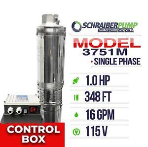 """Schraiberpump 3"""" Deep Well Pump 1HP 115v 348FT 16GPM 148psi 3 wire control box"""