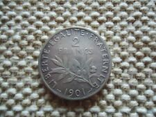 FRANCE 1901 2 FRANCS SILVER COIN. THIRD REPUBLIC 10g., 27mm.