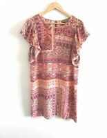 Kachel Size 10 100% Silk Tunic Top EUC Pink Pasiley Indian Print Short Sleeve