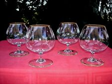 BACCARAT PERFECTION 4 BRANDY GLASSES VERRES A COGNAC CRISTAL UNIS OR DORÉE GILT