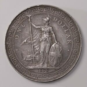 Raw 1898 B British Trade Dollar Uncertified Ungraded Silver KM#T5