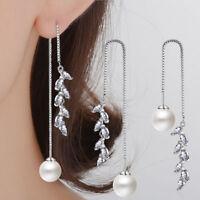 Women 925 Sterling Silver AAA Zircon Pearl Long Tassel Ear Stud Dangle Earrings