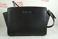 Michael Kors Selma Medium Saffiano Leather Messenger Bag in Black