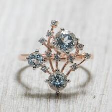 .82ctw Topaz & Diamond Cut White Sapphire 14k Rose Gold/Sterling Silver Ring