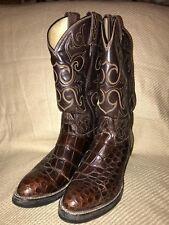 TONY LAMA EL REY 8284 American Alligator Belly Brown Men's Cowboy Boots SZ 8D
