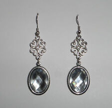 LACY FILIGREE VICTORIAN STYLE CLEAR ACRYLIC CRYSTAL DARK SILVER PLATED EARRINGS