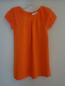 NWT Hanna Andersson Orange Tulle Ruffle Sleeve Dress ~  Girl's 80 / 10-24M