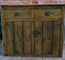 Victorian Rustic Antique Pine Sideboard Drawers - Hallway Cupboard Cabinet