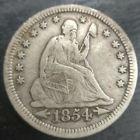 1854 P With Arrows Liberty Seated Silver Quarter VF Very Fine almost XF Extra