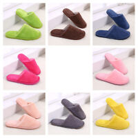 Women Men Adult Solid Casual Indoor Home Plush Slipper Slip On Soft Warm Shoes