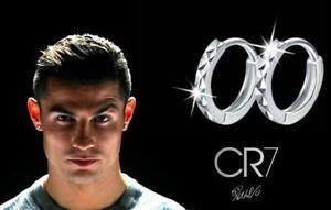 Men's/Boy's Ronaldo 18ct White Gold Plated, Diamond Cut 10mm Huggie Earrings