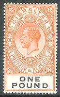 Gibraltar 1925 red-orange/black £1 multi-script mint SG107