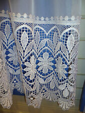 "HEAVY Macrame White lace on voile made to size (Up to 90"" drop) (Zoe)"