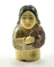 """Old Chinese/ Japanese Happy Lucky Farmer Girl Resin NETSUKE NEW 1.75"""""""