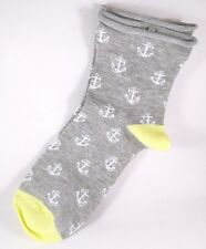 Davco Relaxed Top Socks Womans Gray Anchors Yellow Rayon Blend Sock New