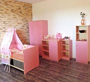 Babyzimmer komplett Set Babybett Schrank 5Farben Kommode Regale ROSA weiß Gravur