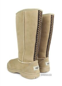 UGG Ultimate Tall Braid Sand Suede Fur Boots Womens Size 8 *NIB*