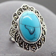 Natural Tibetan Turquoise 925 Sterling Silver Ring Jewelry Size 8