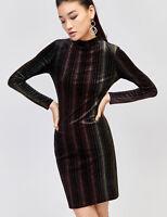 Warehouse Ombre Velvet Bodycon Party Evening Dress in Black Stripe