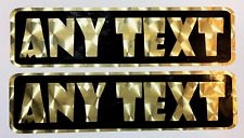 2 ANY TEXT STICKERS gold vintage style 1970s motorcycle helmet metal flake moto