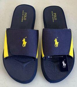 Polo Ralph Lauren Men's Slides Slipper Navy Blue Yellow 8 9 11 New