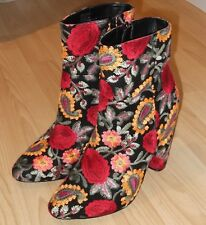 JUST FAB Floral Heeled Embroidered Flowered Ankle Boots Size UK 7 / 8 EU 41