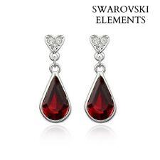 Boucles d'oreilles plaqué or blanc LARME Swarovski® Elements rouge profond