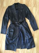 Marc Jacobs Satin Navy Blue Trench coat Size 2 XS Belted Great Condition Heavy