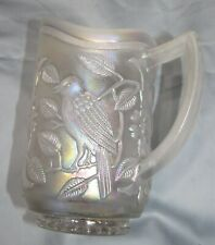 Imperial Glass Singing Birds Carnival White Iridescent Water Lemonade Pitcher