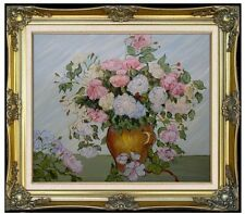 Framed, Hand Painted Oil Painting Van Gogh Pink and White Roses Repro, 20x24in