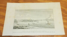 1836 Antique Print/SOUTH VIEW OF NEW LONDON AND FORT TRUMBULL, CT