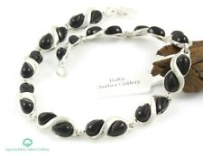 BLACK ONYX STERLING SILVER 925 BRACELET JEWELLERY & GIFT BOX